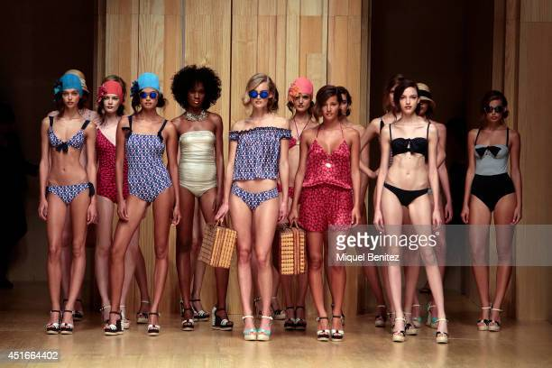 Models walk the runway during the Guillermina Baeza show as part of the 080 Barcelona Fashion Spring/Summer 2015on July 3 2014 in Barcelona Spain
