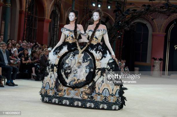 Models walk the runway during the Guo Pei Fall/Winter 2019 2020 show as part of Paris Fashion Week on July 03, 2019 in Paris, France.