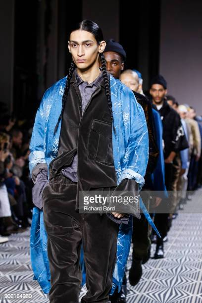 Models walk the runway during the Haider Ackermann Menswear Fall/Winter 20182019 show as part of Paris Fashion Week on January 17 2018 in Paris France