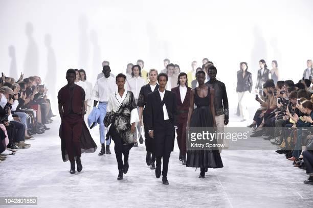 Models walk the runway during the Haider Ackermann show as part of Paris Fashion Week Womenswear Spring/Summer 2019 on September 29 2018 in Paris...