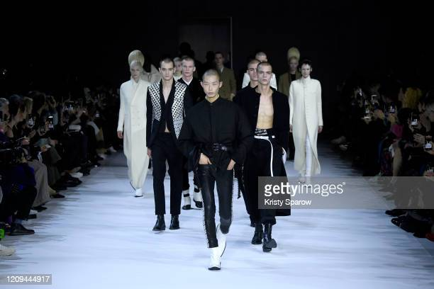 Models walk the runway during the Haider Ackermann show as part of Paris Fashion Week Womenswear Fall/Winter 2020/2021 on February 29, 2020 in Paris,...