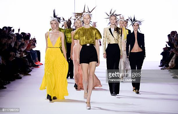 Models walk the runway during the Haider Ackermann show as part of the Paris Fashion Week Womenswear Spring/Summer 2017 on October 1, 2016 in Paris,...