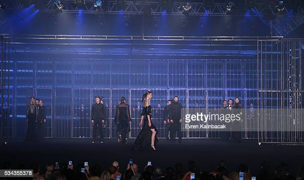 Models walk the runway during the Hakan Akkaya Fall/Winter 16/17 fashion show at Maslak Arena on May 25 2016 in Istanbul Turkey