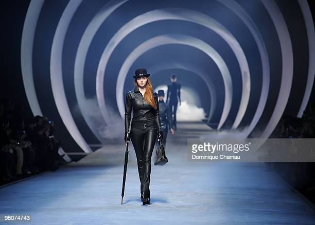 Models walk the runway during the Hermes Ready to Wear show as part of the Paris Womenswear Fashion Week Fall/Winter 2011 at Halle Freyssinet on...