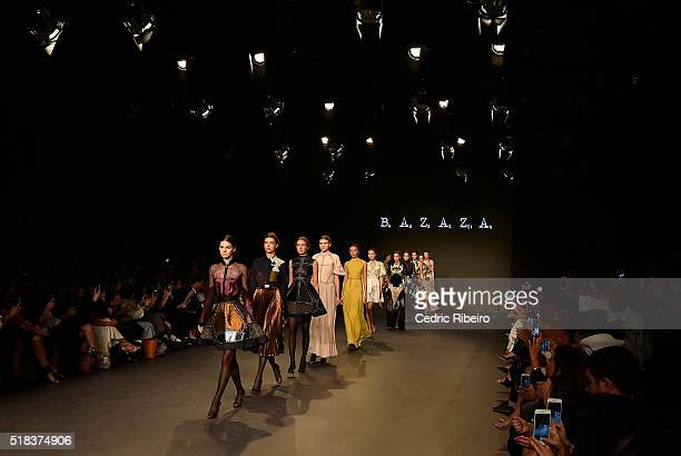 Models walk the runway during the Hussein Bazaza show at Fashion Forward Fall/Winter 2016 held at the Dubai Design District on March 31 2016 in Dubai...
