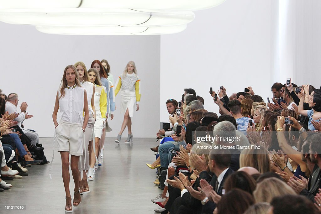 Models walk the runway during the Iceberg show as a part of Milan Fashion Week Womenswear Spring/Summer 2014 on September 20, 2013 in Milan, Italy.