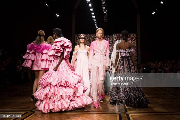 Models walk the runway during the Ingie show as part of the Paris Fashion Week Womenswear Spring/Summer 2019 on September 27 2018 in Paris France