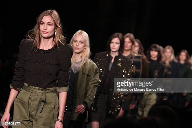 Models walk the runway during the Isabel Marant show as part of the Paris Fashion Week Womenswear Fall/Winter 20142015 on February 28 2014 in Paris...