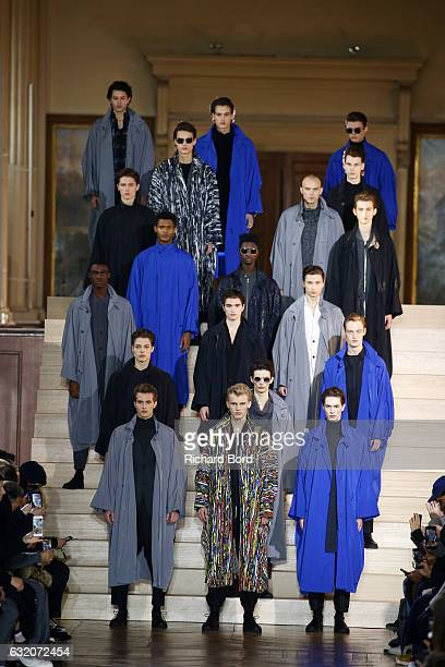 Models walk the runway during the Issey Miyake Men Menswear Fall/Winter 20172018 show as part of Paris Fashion Week on January 19 2017 in Paris France