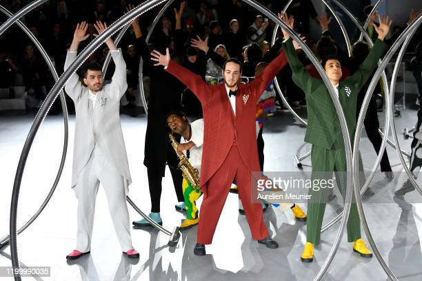 Models walk the runway during the Issey Miyake Men Menswear Fall/Winter 2020-2021 show as part of Paris Fashion Week on January 16, 2020 in Paris,...