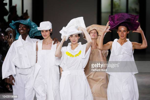 Models walk the runway during the Issey Miyake show as part of the Paris Fashion Week Womenswear Spring/Summer 2019 on September 28 2018 in Paris...