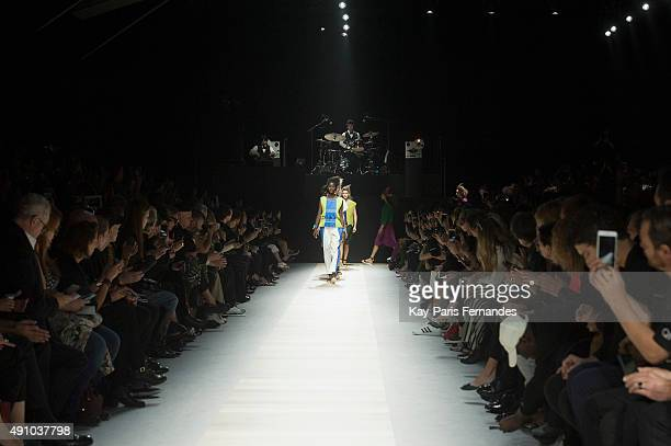 Models walk the runway during the Issey Miyake show as part of the Paris Fashion Week Womenswear Spring/Summer 2016 on October 2 2015 in Paris France