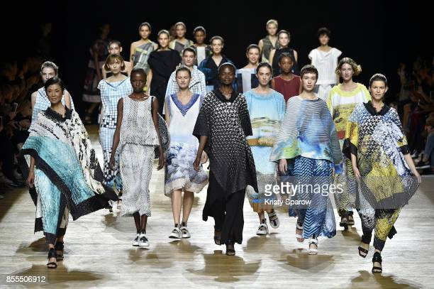 Models walk the runway during the Issey Miyake show as part of the Paris Fashion Week Womenswear Spring/Summer 2018 on September 29 2017 in Paris...