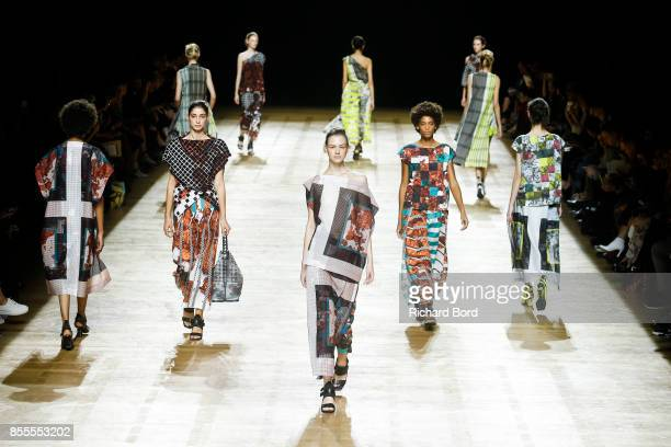 Models walk the runway during the Issey Miyake show at Grand Palais as part of Paris Fashion Week Womenswear Spring/Summer 2018 on September 29 2017...