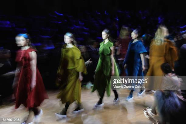 Models walk the runway during the Issey Miyake show at Hotel de Ville as part of the Paris Fashion Week Womenswear Fall/Winter 2017/2018 on March 3...