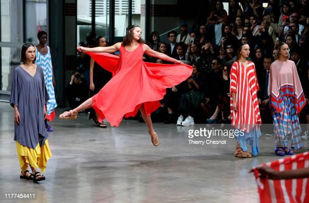 Models walk the runway during the Issey Miyake Womenswear Spring/Summer 2020 show as part of Paris Fashion Week on September 27, 2019 in Paris,...