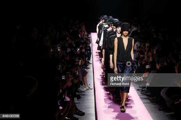 Models walk the runway during the Jacquemus show as part of the Paris Fashion Week Womenswear Fall/Winter 2017/2018 on February 28 2017 in Paris...