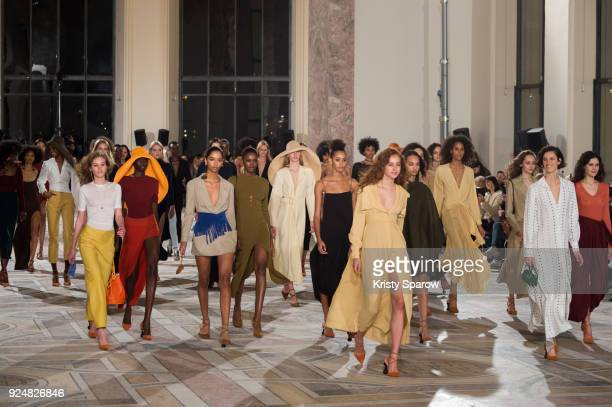 Models walk the runway during the Jacquemus show as part of the Paris Fashion Week Womenswear Fall/Winter 2018/2019 on February 26 2018 in Paris...