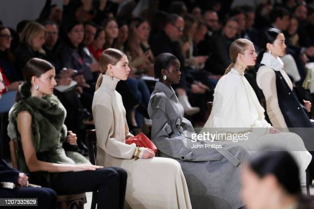 Models walk the runway during the Jil Sander fashion show as part of Milan Fashion Week Fall/Winter 2020-2021 on February 19, 2020 in Milan, Italy.