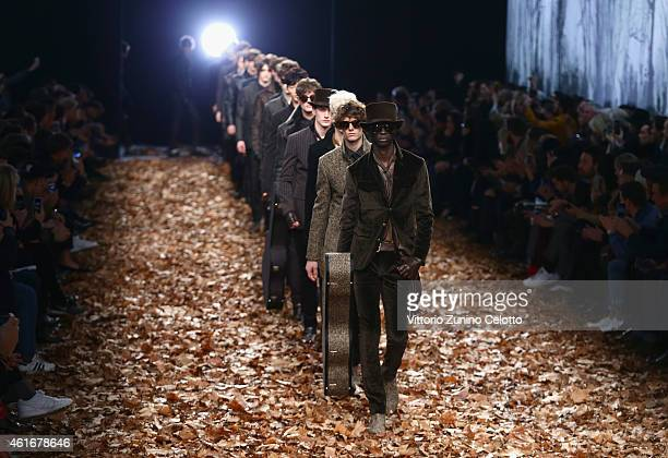 Models walk the runway during the John Varvatos Show as a part of Milan Menswear Fashion Week Fall Winter 2015/2016 on January 17 2015 in Milan Italy
