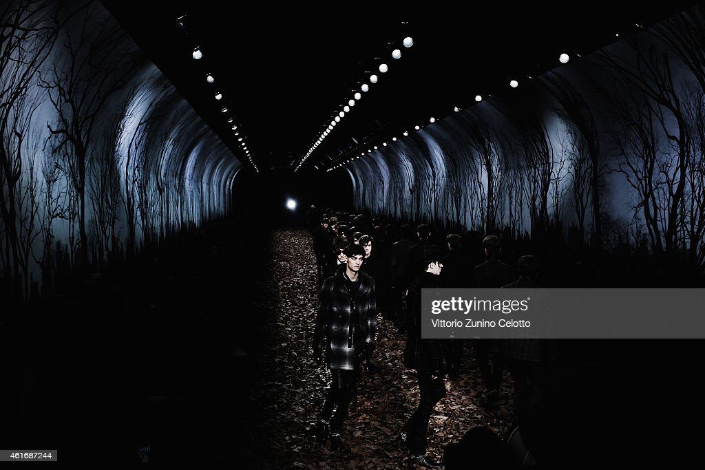 Models walk the runway during the John Varvatos Show as a part of Milan Menswear Fashion Week Fall Winter 2015/2016 on January 17, 2015 in Milan, Italy.