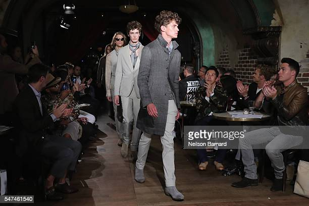 Models walk the runway during the John Varvatos Spring/Summer 2017 Fashion Show at The Django at Roxy Hotel on July 14 2016 in New York City