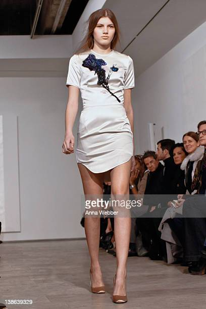 Models walk the runway during the Juan Carlos Obando Fall 2012 fashion show during MercedesBenz Fashion Week at the Lehmann Maupin Gallery on...