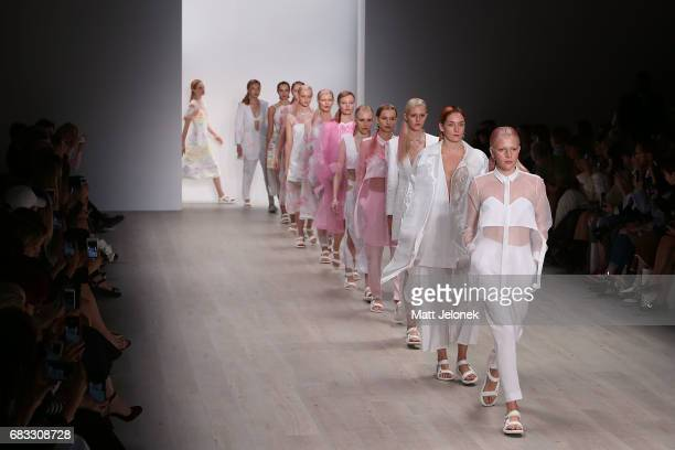 Models walk the runway during the Karla Spetic show at MercedesBenz Fashion Week Resort 18 Collections at Carriageworks on May 15 2017 in Sydney...