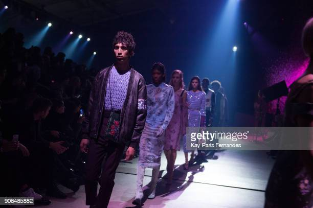 Models walk the runway during the Kenzo Menswear Fall/Winter 20182019 show as part of Paris Fashion Week on January 21 2018 in Paris France