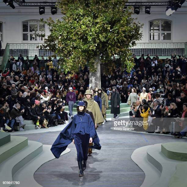 Models walk the runway during the Lacoste show as part of Paris Fashion Week Womenswear Fall/Winter 2018/2019 on February 28 2018 in Paris France