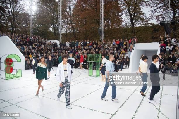 Models walk the runway during the Lacoste Spring Summer 2018 show as part of Paris Fashion Week at on September 27 2017 in Paris France