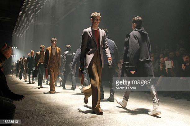 Models walk the runway during the Lanvin Menswear Autumn/Winter 2013 show as part of Paris Fashion Week on January 22, 2012 in Paris, France.