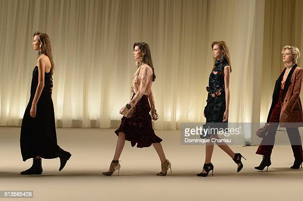 Models walk the runway during the Lanvin show as part of the Paris Fashion Week Womenswear Fall/Winter 2016/2017 on March 3 2016 in Paris France