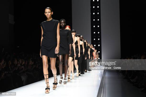 Models walk the runway during the Lanvin Spring Summer 2018 show as part of Paris Fashion Week at on September 27 2017 in Paris France