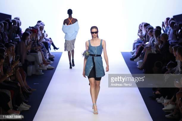 Models walk the runway during the LeGer by Lena Gercke fashion show during the AYFW - About You Fashion Week at ewerk on July 07, 2019 in Berlin,...
