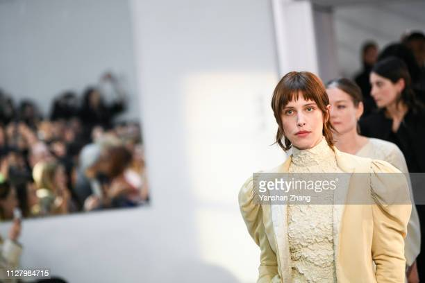 Models walk the runway during the Lemaire show as part of the Paris Fashion Week Womenswear Fall/Winter 2019/2020 on February 27, 2019 in Paris,...