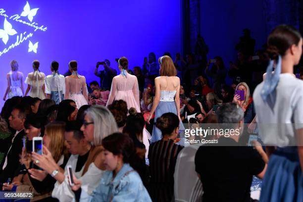 Models walk the runway during the Leo Lin show at MercedesBenz Fashion Week Resort 19 Collections at Carriageworks on May 17 2018 in Sydney Australia