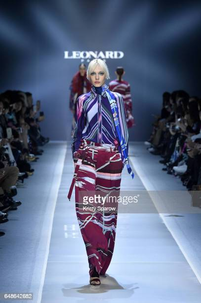 Models walk the runway during the Leonard Paris show as part of Paris Fashion Week Womenswear Fall/Winter 2017/2018 on March 6 2017 in Paris France