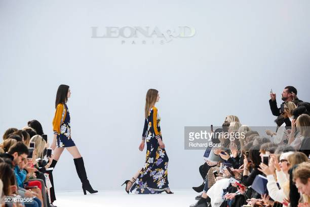 Models walk the runway during the Leonard Paris show as part of the Paris Fashion Week Womenswear Fall/Winter 2018/2019 on March 5 2018 in Paris...