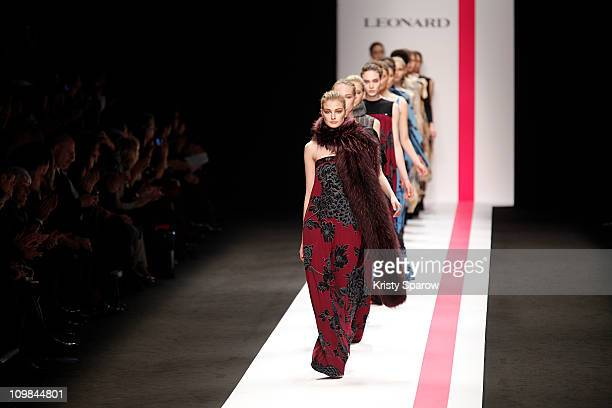 Models walk the runway during the Leonard Ready to Wear Autumn/Winter 2011/2012 show during Paris Fashion Week Pavillon Concorde on March 7, 2011 in...