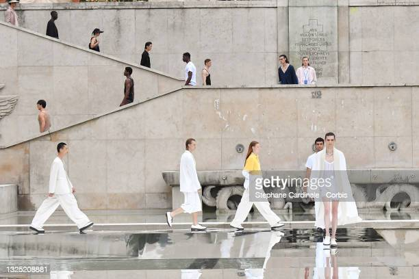 Models walk the runway during the LGN Louis-Gabriel Nouchi Menswear Spring Summer 2022 show as part of Paris Fashion Week on June 24, 2021 in Paris,...