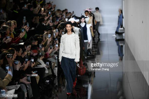 Models walk the runway during the Loewe show as part of the Paris Fashion Week Womenswear Fall/Winter 2019/2020 on March 1, 2019 in Paris, France.