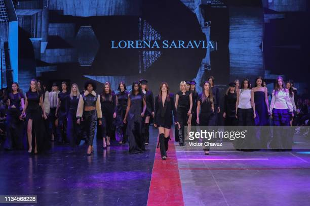 Models walk the runway during the Lorena Saravia fashion show as part of the MercedesBenz Fashion Week Mexico Fall/Winter 2019 Day 2 at Fronton...