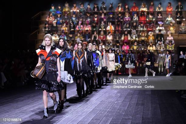 Models walk the runway during the Louis Vuitton as part of the Paris Fashion Week Womenswear Fall/Winter 2020/2021 on March 03, 2020 in Paris, France.