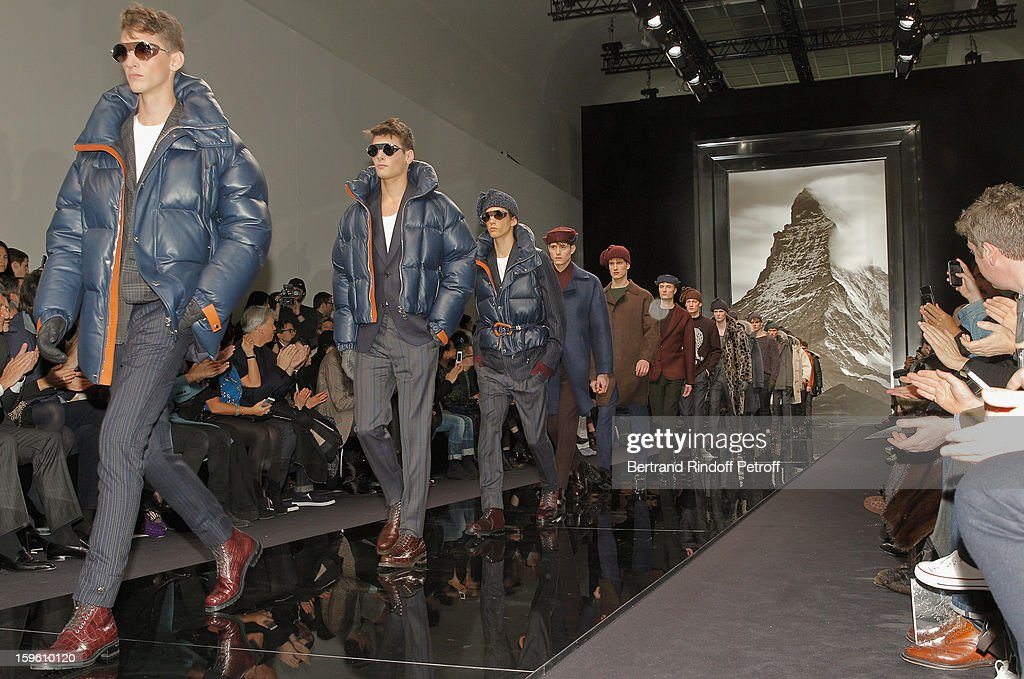 Models walk the runway during the Louis Vuitton Men Autumn / Winter 2013 show as part of Paris Fashion Week on January 17, 2013 in Paris, France.
