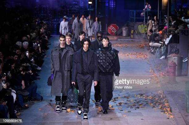 Models walk the runway during the Louis Vuitton Menswear Fall/Winter 20192020 show as part of Paris Fashion Week on January 17 2019 in Paris France