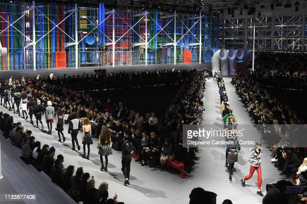 Models walk the runway during the Louis Vuitton show as part of the Paris Fashion Week Womenswear Fall/Winter 2019/2020 on March 05 2019 in Paris...