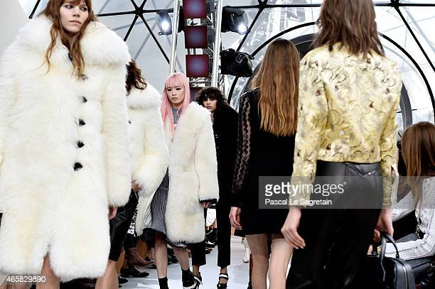 Models walk the runway during the Louis Vuitton show as part of the Paris Fashion Week Womenswear Fall/Winter 2015/2016 on March 11 2015 in Paris...