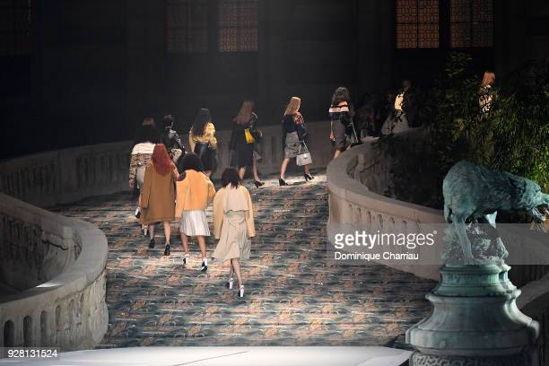 Models walk the runway during the Louis Vuitton show as part of the Paris Fashion Week Womenswear Fall/Winter 2018/2019 on March 6 2018 in Paris...