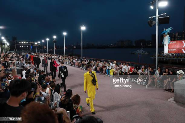 Models walk the runway during the Louis Vuitton S/S21 Men's Collection show at Shanghai Tank Art Park on August 6, 2020 in Shanghai, China.